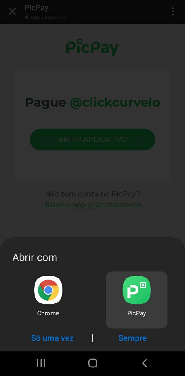 Indique o app para abrir o link